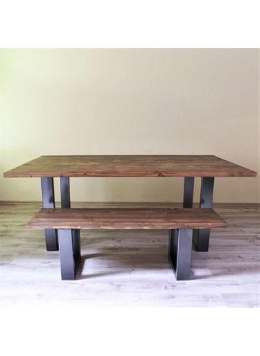 222 Concept Masif Ağaç Ceviz Renk 180x80x3 cm Banklı Yemek Masası Renkli